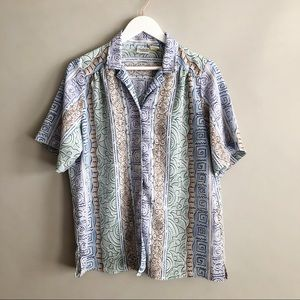 Vintage Pattern Short sleeve button down blouse